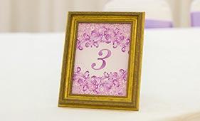 Фиолетовый номерок на стол гостей