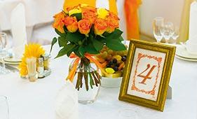 Номерок на стол гостей в оранжевом цвете