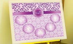 План рассадки гостей на свадьбе фиолетового цвета