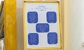План рассадки гостей на свадьбе бело-синего цвета
