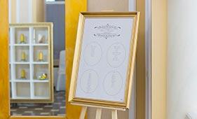 План рассадки гостей на свадьбе бело-коричневого цвета