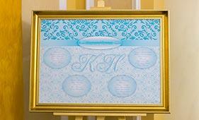 План рассадки гостей на свадьбе бело-бирюзового цвета