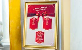 План рассадки гостей на свадьбе с красным бантом