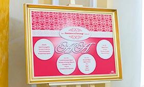 План рассадки гостей на свадьбе бело-красного цвета