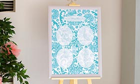 Бело-бирюзовый план рассадки гостей на свадьбе