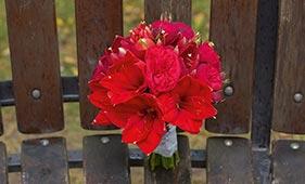 Красный свадебный букет невесты