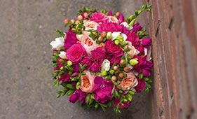 Свадебный букет невесты с пионовидными И кустовыми розами