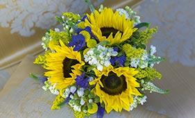 Свадебный букет невесты из подсолнухов