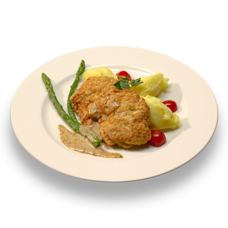 Куриные котлеты по-министерски с горчичным соусом и картофельным пюре